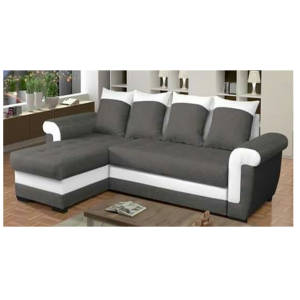 Salon gris foncé et blanc : Le canapé 7 places
